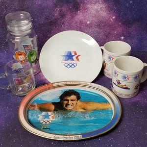 Vintage 1984 Olympics set cups plates tray